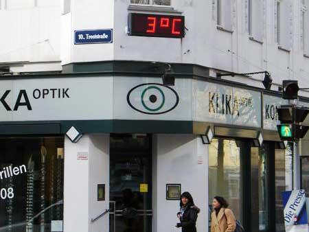Zeit- und Temperaturanzeige