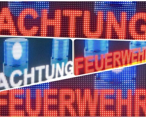 LED-Warnschild Achtung Feuerwehr